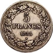 Belgium 5 Francs (Leopold I) KM# 3.1 5 FRANCS 1838 coin reverse