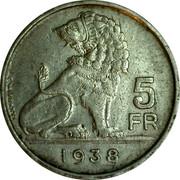 Belgium 5 Francs KM# 117.1 Decimal Coinage 5 FR E. WIJNANTS 1938 coin reverse