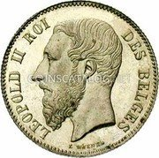 Belgium 50 Centimes 1866 KM# 26 Decimal Coinage coin obverse