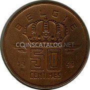 Belgium 50 Centimes 1953 KM# 149.2 Decimal Coinage coin obverse