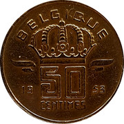 Belgium 50 Centimes 1953 KM# 148.2 Decimal Coinage BELGIQUE 19 50 CENTIMES 53 coin reverse