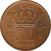 Belgium 50 Centimes 1953 KM# 145 Decimal Coinage coin reverse