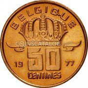 Belgium 50 Centimes 1977 KM# 148.1 Decimal Coinage coin reverse