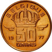 Belgium 50 Centimes 1977 KM# 148.1 Decimal Coinage BELGIQUE 19 50 CENTIMES 93 coin reverse