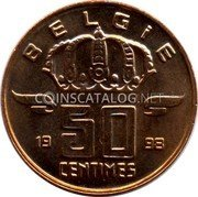 Belgium 50 Centimes 1998 KM# 149.1 Decimal Coinage coin reverse