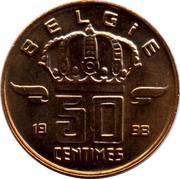 Belgium 50 Centimes 1998 KM# 149.1 Decimal Coinage BELGIË 19 50 CENTIMES 56 coin reverse