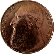 Belgium 50 Centimes Leopold II 1901 KM# Pn99 LEOPOLD II ROI DES BELGES coin obverse