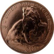 Belgium 50 Centimes Leopold II 1901 KM# Pn99 L'UNION FAIT LA FORCE 1901 50 CS VINCOTTE coin reverse