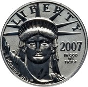 USA 50 Dollars American Platinum Eagle 2007 W Reverse Proof LIBERTY 2007 JM IN GOD WE TRUST E PLURIBUS UNUM coin obverse