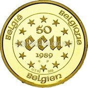 Belgium 50 ECU 1989 (qp) Proof KM# 174 European Currency Units coin reverse