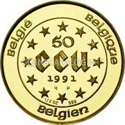 Belgium 50 ECU 1991 (qp) Proof KM# 184 European Currency Units coin obverse