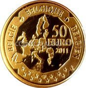 Belgium 50 Euro (100th Anniversary of Discovery of the South Pole) KM# 310 BELGIQUE BELGIE BELGIEN 50 EURO 2011 coin reverse