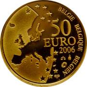 Belgium 50 Euro 400th Anniversary of Death of Justus Lipsius 2006 Proof KM# 256 BELGIE BELGIQUE BELGIEN 50 EURO 2006 Q P coin obverse