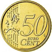 Belgium 50 Euro Cent Albert II - 2nd map - 2nd type - 2nd portrait 2008 Proof KM# 279 50 EURO CENT LL coin reverse