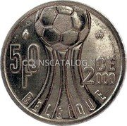 "Belgium 50 Francs (50 Frank) 2000 In the ""Euro 2000"" sets only. Proof KM# 213.2 Decimal Coinage coin reverse"