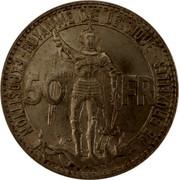 Belgium 50 Francs Brussels Exposition and Railway Centennial 1935 KM# 106.1 ROYAUME DE BELGIQUE EXPOSITION DE BRUXELLES 50 FR coin obverse