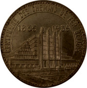 Belgium 50 Francs Brussels Exposition and Railway Centennial 1935 KM# 106.1 CENTENAIRE DES CHEMINS DE FER BELGES 1835 - 1935 coin reverse
