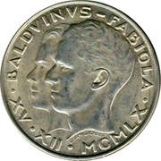 Belgium 50 Francs King Baudouin's marriage 1960 KM# 152.1 BALDVINVS FABIOLA C. VAN DIONANT XV XII MCMLX coin obverse