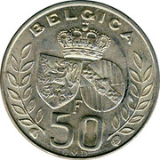Belgium 50 Francs King Baudouin's marriage 1960 KM# 152.1 BELGICA F 50 C.V.D. coin reverse
