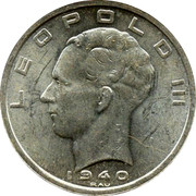 Belgium 50 Francs Leopold III 1940 KM# 122.3 LEOPOLD III 1940 RAU coin obverse