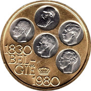 Belgium 500 Francs 150th Anniversary of Independence. Coloured 1980 1830 BEL GIË 1980 coin obverse