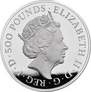 UK 500 Pounds White Greyhound of Richmond 2021 Proof ELIZABETH II D G REG F D 500 POUNDS J.C coin obverse