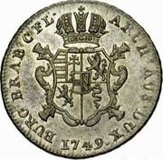 Belgium Escalin 1749 (h) KM# 4 Standart Coinage ARCH AUS DUX BURG BRAB C FL 1749 coin reverse