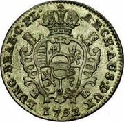 Belgium Escalin 1752 (h) R KM# 15 Standart Coinage ARCH AUS DUX BURG BRAB C FL coin reverse