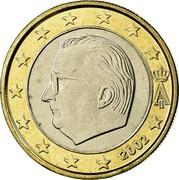 Belgium Euro Albert II - 1st map - 1st type - 1st portrait 2002 Proof KM# 230 A II 1999 coin obverse