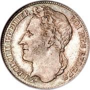 Belgium Franc 1833 KM# 7.2 Decimal Coinage BRAEMT F. LEOPOLD PREMIER ROI DES BELGES coin obverse