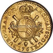 Belgium Souverain D'or 1761 (b) R KM# 24 Trade Coinage coin reverse