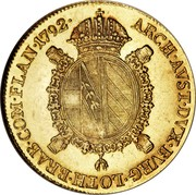 Belgium Souverain D'or Austrian Netherlands 1792 B KM# 43 ARCH AVST DVX BVRG LOTH BRAB COM FLAN 1792 coin reverse