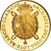 Belgium Souverain D'or 1793 V KM# 64 Trade Coinage ARCH AVST DVX BVRG LOTH BRAB COM FLAN 1793 coin reverse