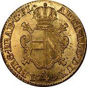 Belgium Souverain D'or (Maria Theresia) KM# 10 BURG BRAB C FL ARCH AUS DUX 1749 coin reverse