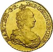 Belgium Souverain D'or Maria Theresia 1749 (h) R KM# 11 MAR TH D G R JMP G HUNG BOH R coin obverse