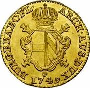 Belgium Souverain D'or Maria Theresia 1749 (h) R KM# 11 ARCH AUS DUX BURG BRAB C FL 1749 coin reverse