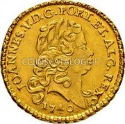Portugal 1/2 Escudo (800 Reis) 1740 KM# 218.8 Kingdom Milled coinage coin obverse