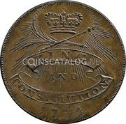 UK 1/2 Penny (Hampshire - Emsworth - Earl Howe) KING AND CONSTITUTION 1794 coin reverse