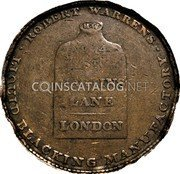 UK 1/2 Penny (SJapan Liquid Blacking / R. Warren) ROBERT WARREN · LIQUID BLACKING MANUFACTORY · RW NO. 14 ST. MARTINS LANE LONDON coin reverse