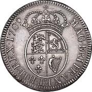 UK 1 Crown James VIII 1709  MAG BRI FRAN ET HIB REX 1709 coin reverse
