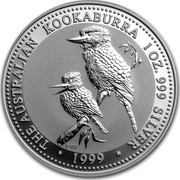 Australia 1 Dollar (Australian Kookaburra) KM# 399 THE AUSTRALIAN KOOKABURRA 1 OZ. 999 SILVER 1999 coin reverse