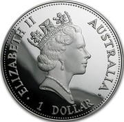 Australia 1 Dollar Kookaburra. American Eagle Privy Mark 1992 KM# 227.1 ELIZABETH II AUSTRALIA 1 DOLLAR coin obverse