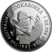 Australia 1 Dollar Kookaburra. American Eagle Privy Mark 1992 KM# 227.1 THE AUSTRALIAN KOOKABURRA 1 OZ. 999 SILVER 1992 coin reverse