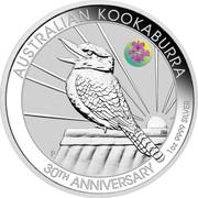Australia 1 Dollar Kookaburra. ANDA Brisbane Cooktown Orchid Privy mark 2020 P AUSTRALIAN KOOKABURRA 30TH ANNIVERSARY 1OZ 9999 SILVER coin reverse