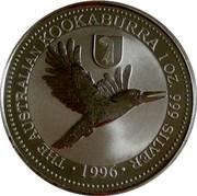 Australia 1 Dollar Kookaburra. Basler Stab Privy Mark 1996 KM# 289.1 THE AUSTRALIAN KOOKABURRA 1 OZ 999 SILVER 1996 coin reverse