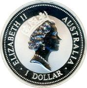 Australia 1 Dollar Kookaburra. Beijin Money Fair Panda Privy Mark 1996 ELIZABETH II AUSTRALIA 1 DOLLAR coin obverse