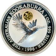 Australia 1 Dollar Kookaburra. Beijin Money Fair Panda Privy Mark 1996 THE AUSTRALIAN KOOKABURRA 1 OZ 999 SILVER 1996 coin reverse