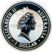 Australia 1 Dollar (Kookaburra. Beijin Money Fair Panda Privy Mark) ELIZABETH II AUSTRALIA 1 DOLLAR coin obverse