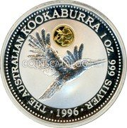 Australia 1 Dollar (Kookaburra. Beijin Money Fair Panda Privy Mark) THE AUSTRALIAN KOOKABURRA 1 OZ 999 SILVER 1996 coin reverse