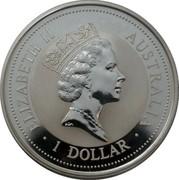 Australia 1 Dollar Kookaburra. Beijing coin show Panda Privy Mark 1997 KM# 318.9 ELIZABETH II AUSTRALIA 1 DOLLAR coin obverse